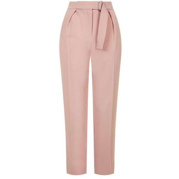 TopShop Utility Peg Trousers ($74) ❤ liked on Polyvore featuring pants, capris, cropped pants, tailored pants, peg trousers, pink pants and tapered trousers