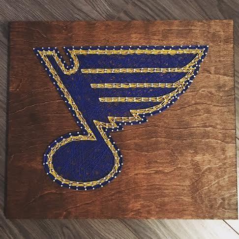 STL Blues string/nail art - hockey logo #STL #STLBlues #StringArt