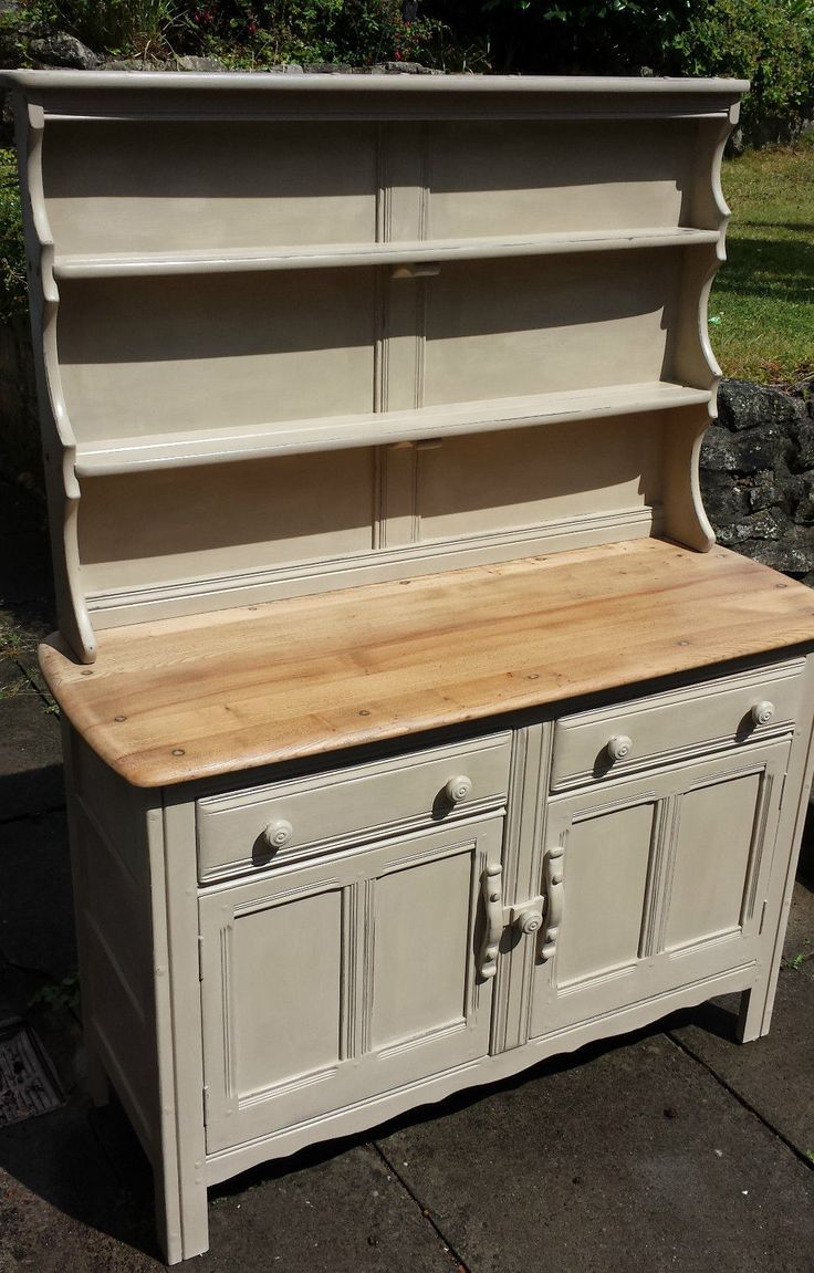 Vintage Ercol Sideboard Dresser w/ plate rack shabby chic Annie Sloan Old Ochre | eBay