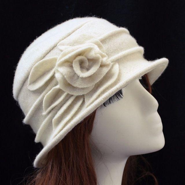 Lisli della signora Cappello In Pile, elegante Fiore di Lana Cloche Bucket Hat Inverno Delle Donne Ricopre Cappelli In Pile Interno Caldo Miglior Prezzo 01G0008