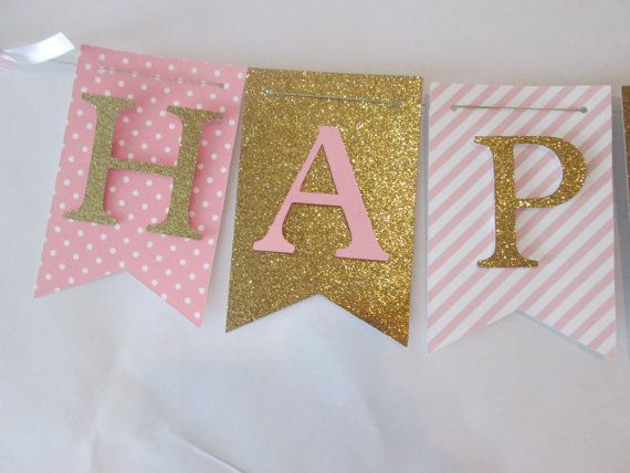 This listing is for a pink and glitter gold Happy birthday banner. Add a name banner for just $7!!