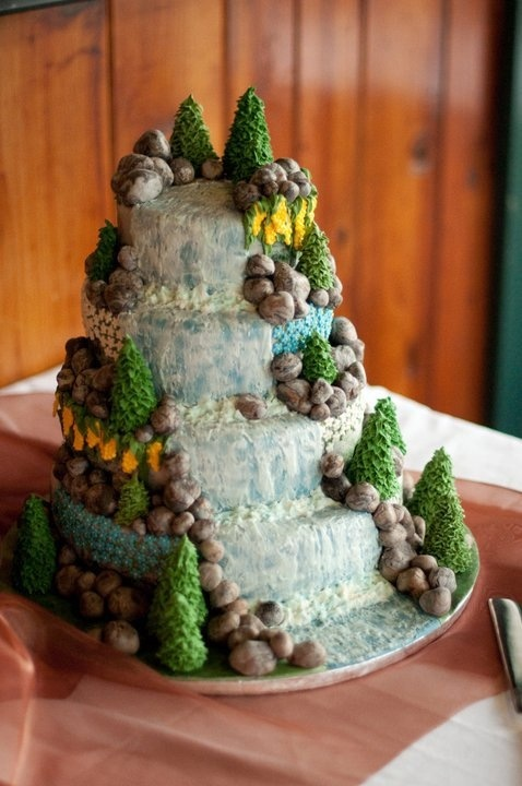 Beautiful Waterfall Wedding Cake! Amazing detail of water, trees and rocks.  Made by Tamara Yurich of the Bar Lazy J Guest Ranch in Parshall, Colorado.