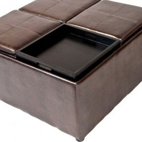 adorable ottoman coffee table designs for living room funiture ravishing square brown faux leather ottoman coffee table with 4 tray hidden storage as - Brown Leather Ottoman