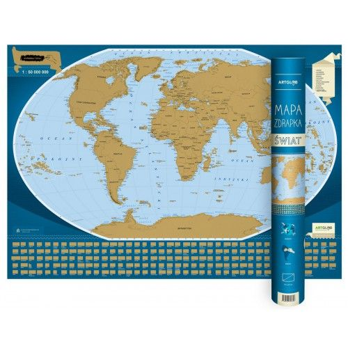 Świat - mapa zdrapka, 1:50 000 000, mapa, ArtGlob