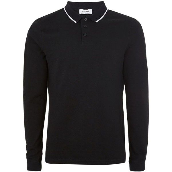 TOPMAN Black Long Sleeve Muscle Polo ($16) ❤ liked on Polyvore featuring men's fashion, men's clothing, men's shirts, men's polos, black, mens long sleeve polo shirts, mens extra long sleeve shirts, mens polo collar shirts, mens long sleeve shirts and topman mens shirts