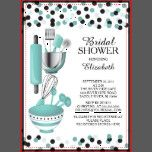 Modern stock the kitchen bridal shower invitation featuring a rolling pin, mixing bowl, spatula, pizza cutter, whisk, vegetable peeler and measuring spoons set on a contemporary white background with teal blue & black polka dot confetti.  Visit our shop to view this invitation in a variety of popular wedding shower invitations.