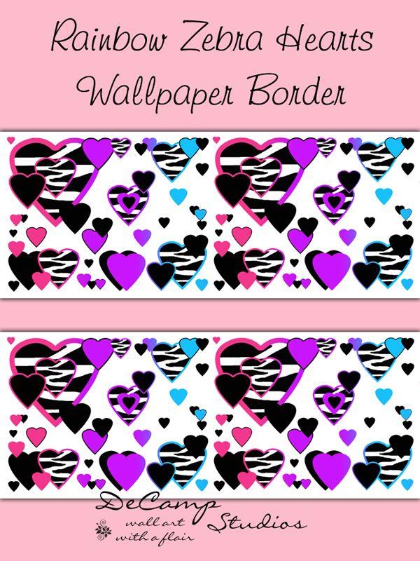 Rainbow Zebra Animal Print Heart wallpaper border wall