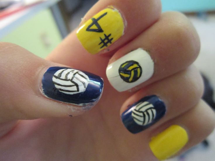 Volleyball nails. change the colors to lime green and it would be perf for one of my volleyball games!