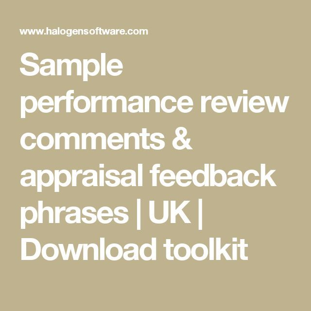 Sample performance review comments & appraisal feedback phrases | UK | Download toolkit