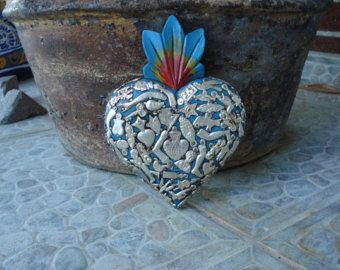 Heart With Milagros Charms Red Hand Carved Ex Voto by CasadeCharms