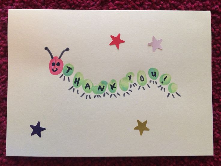 Thank you card for toddlers. Fingerprint caterpillar home made DIY card with stickers!