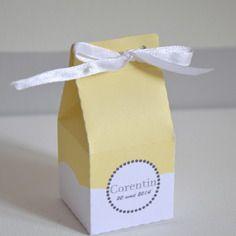 Boite dragées, contenant dragées, boîte de lait, ruban, jaune, blanc