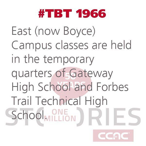 #TBT In 1966 classes for #CCAC East Campus (now #Boyce) are held in temporary quarters at Gateway High School and the Forbes Trail Technical High School. #CCAC50 #ThrowbackThursday #CCACHistory