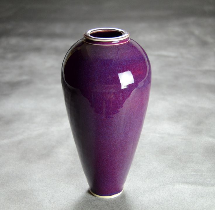 Tall Porcelain Purple Floor Vase   Hand thrown porcelain on a potter's wheel.  High Fired, Cone 10, Lipstick Purple Glaze, Hand Trimmed, Ceramic   Caldwell Pottery