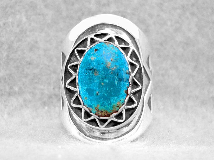 Mens Ring Size 10 Turquoise Kingman Navajo Sterling Silver Native American Z