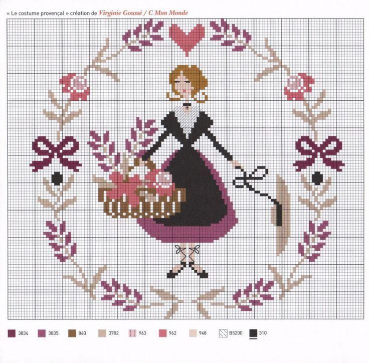 point de croix paysanne et fleurs - cross-stitch peasant girl and flowers
