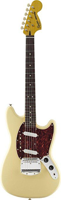 Squier by Fender Vintage Modified Mustang Electric Guitar, Rosewood Fingerboard, Vintage White    Electric Guitar Pickups  Used Guitars For Sale  Electric Guitar Case  Guitar Straps  Beginner Guitar  Guitar Tuner  Guitar For Beginners  Esteban Guitar  Elixir Guitar Strings  Guitar Effects Pedals  Fender Amps  Ovation Guitars  Guitar Online  Gretsch Guitars