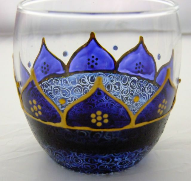 Blue painted glass candle holder