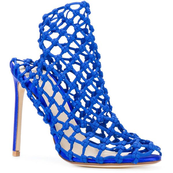 Francesco Russo Klein caged heel sandals ($1,180) ❤ liked on Polyvore featuring shoes, sandals, francesco russo shoes, caged heel sandals, open toe sandals, real leather shoes and leather heeled sandals