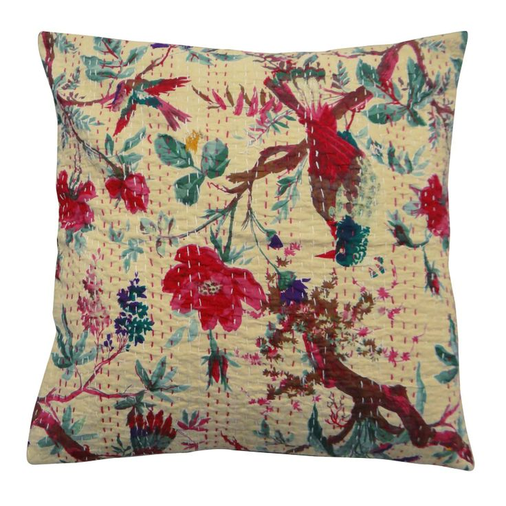 Beige color cotton fabric kantha stitch Cushion Cover / Pillow Case.  ..this is img