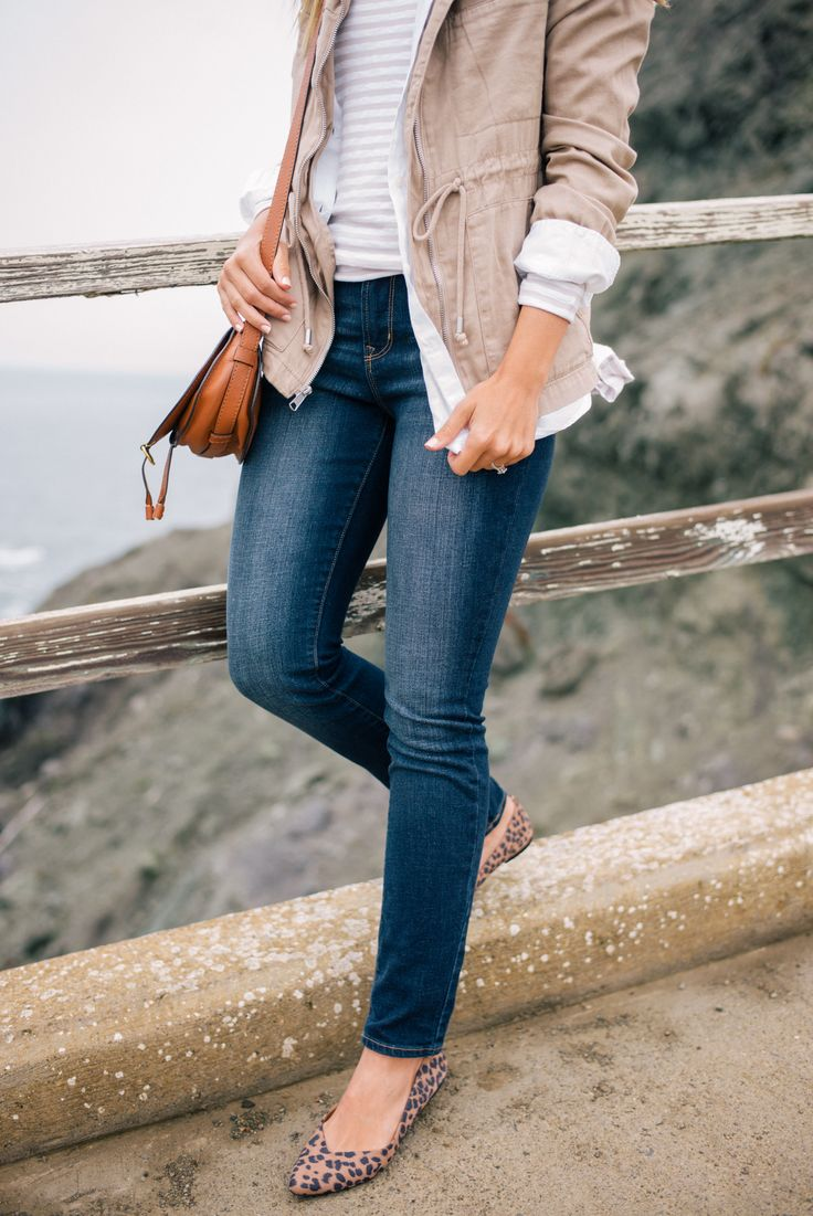 Gal Meets Glam Misty Views - Old Navy jacket & shirt, tee, jeans, & flats c/o