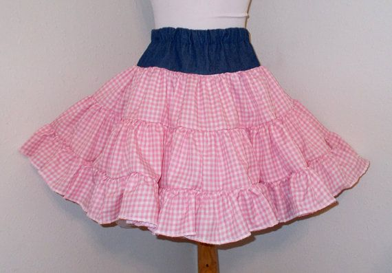 Country Cowgirl Denim and Gingham Full Ruffled by BizzyBumpkins
