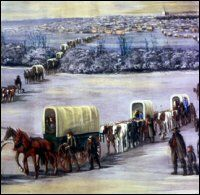 History of the Mormon Trail of Pioneers: Mormon Trail Crossing the Mississippi on the Ice
