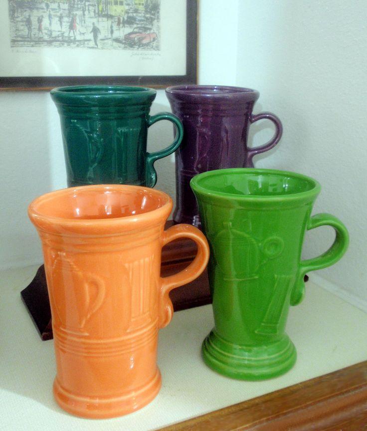 Fiesta Cappuccino Mugs in tangerine, shamrock green, heather and juniper.