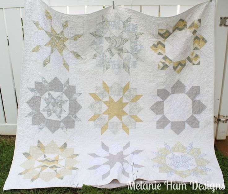 My Swoon (Thimble Blossom, Camille Roskelley great pattern) quilt handmade with Dear Stella White Gold Palladium fabric and Kona Ash and Snow
