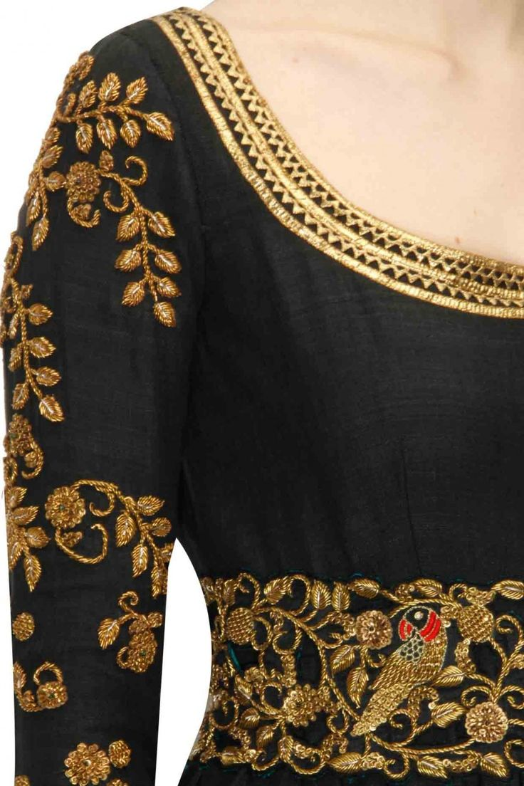 TISHA SAKSENA Black zardozi anarkali set with cutwork belt available only at…