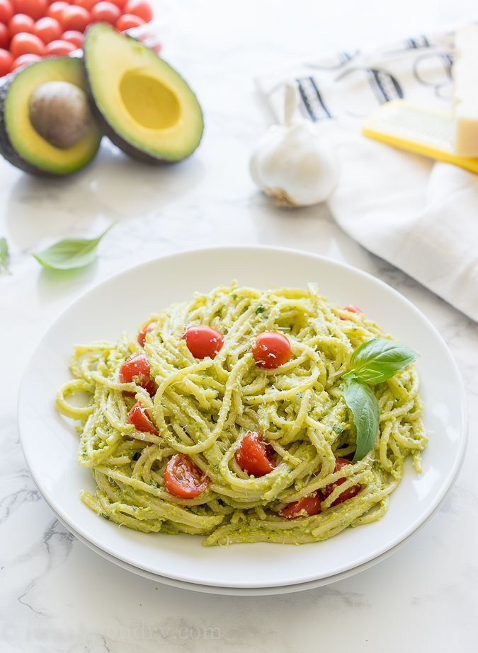 Avocado Pesto Pasta For 2: 4 oz pasta, 1/2 avocado, 3/4 cup basil, little less than 3 T pine nuts, 2.5 T fresh parmesan, 1 T lemon juice, pinch salt, 2 T garlic olive oil (or plain OO + 1 clove garlic). Used 1 medium-large tomato diced large. Toss pasta into sauce, put in 2 bowls (didnt need pasta water) Add tomatoes and parmesan on top. Might need another pinch of salt as well