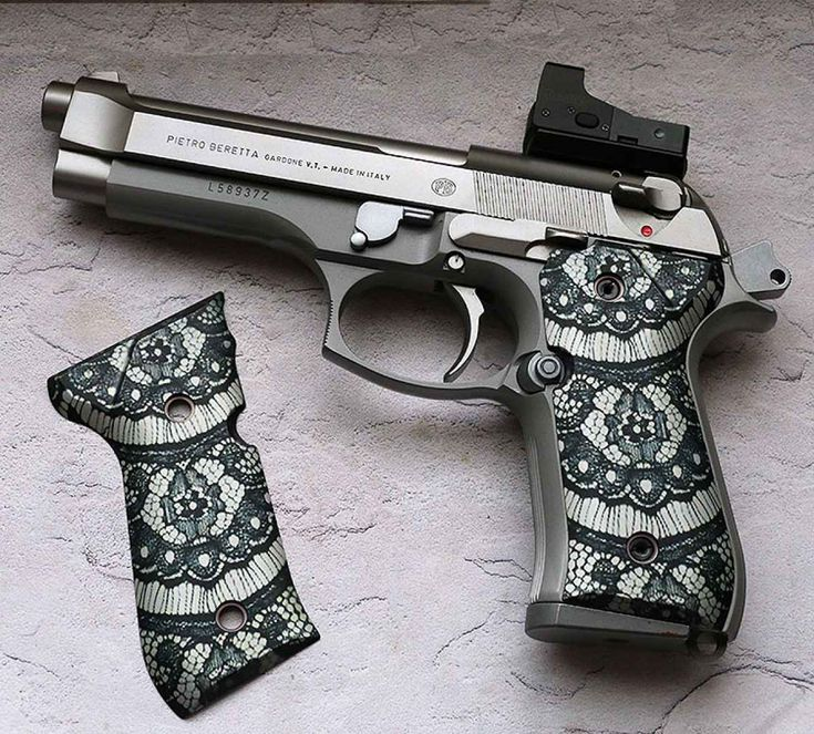 Grip and Grin, Wicked's Black Lace grips for the Beretta 92 are one of their hot sellers. This is what combining fashion and grip design is all about.