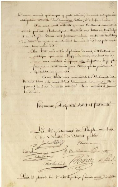Letter to George Washington from the Comité de Salut Public or Committee of Public Safety (source Christies)