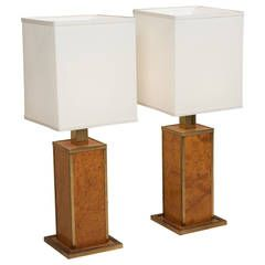 1970s Burl and Brass Table Lamps | From a unique collection of antique and modern table lamps at https://www.1stdibs.com/furniture/lighting/table-lamps/