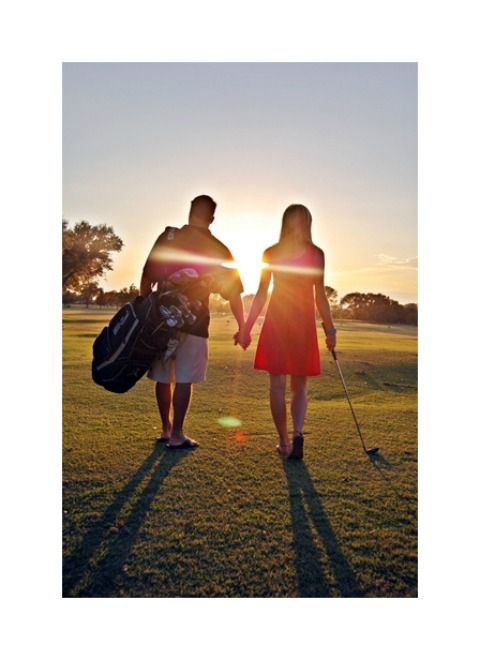 golf engagement photo shoot.