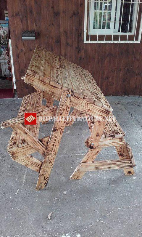 Dominique Hoarau nous enseigne comment il a créé avec du bois brûlée, Ce banc transformable à une table de pique-nique. Comme vous voyez, la table se plie pour former un banc avec un dos plus confo…