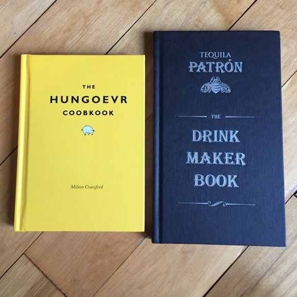 """Hungover Cookbook & Patron Tequila Drink Maker Two books for you or your favorite drunk friend. Hungover """"hungoevr coobkook"""" cookbook is 127 pages - never read, never opened, haven't cracked the spine. Same goes for the Patron drink recipe book - 144 pages, never read, never opened (except a little for that photo above), haven't cracked the spine. Both new, both hardcover. PATRON Other"""