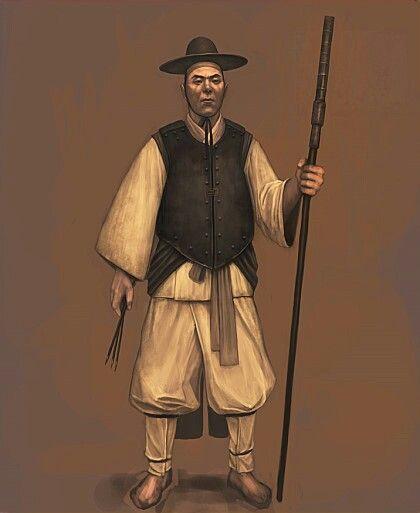 조선 승자총통수-Joseon Seungja chongtong(musket)  soldier wearing cuirass maybe made by not only iron but textile or paper