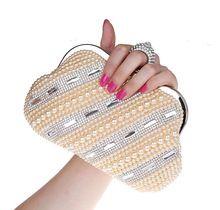 Женщины роскошный сумочка алмаз жемчуг вечернее мешок вышивка бисером Kunckle кристалл кольца свадьба ну вечеринку сцепление сумка-мессенджер(China (Mainland))