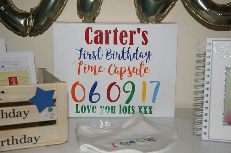 Birthday time capsule box. From Dellers Designs on Facebook.