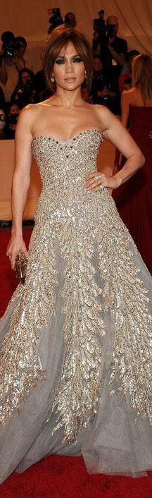 Jennifer Lopez in glamorous strapless sequined gown- Zuhair Murad