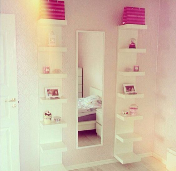 IKEA shelves. Love the combination with the mirror, but I think I'd pick a chunkier one: