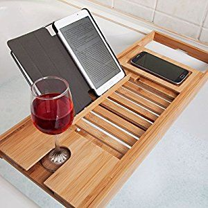 Woodluv Luxury Bath Bridge Tub Caddy Tray Rack Bathroom Shelf, Bamboo: Amazon.co.uk: Kitchen & Home