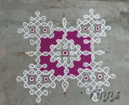 11 Dots Sikku kolam done with wet rice paste Maakolam