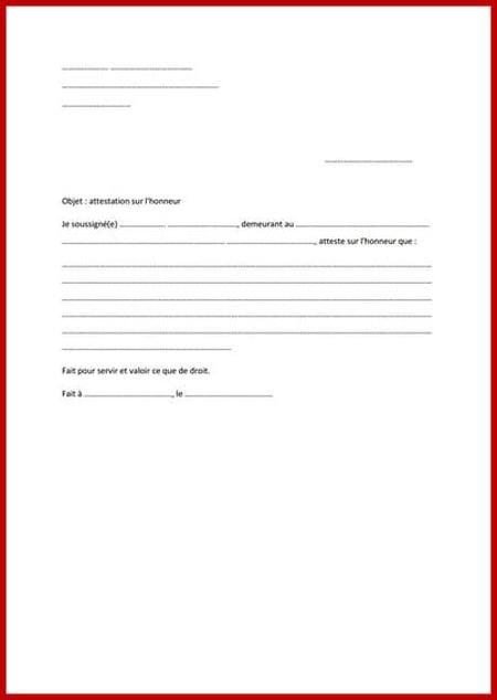 Modèle d'attestation sur l'honneur - Modèle gratuit de lettre   Attestation, Honneur ...
