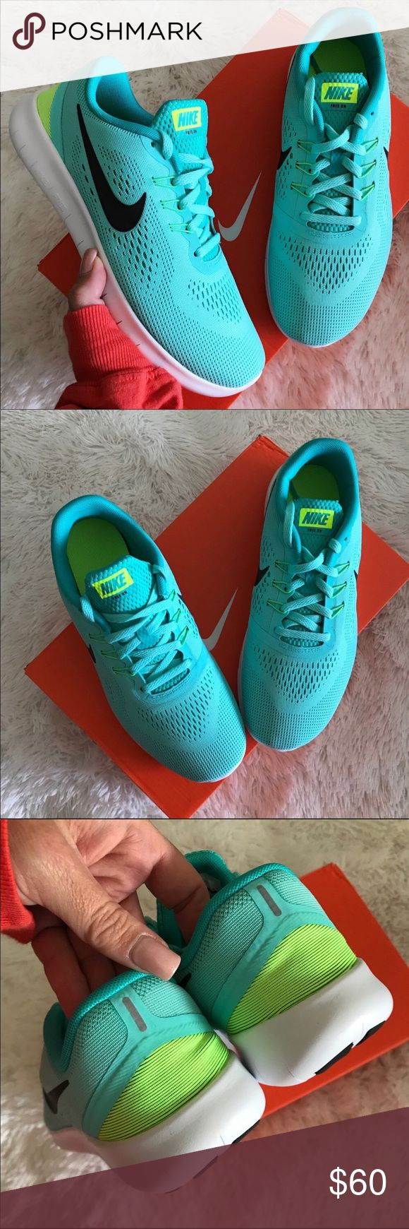 NEW 💠 NIKE FREE RN FITS SIZE 6.5 WOMEN BRAND NEW, NIKE FREE! Cute, cozy & comfy NIKES | LUXURIOUS TIFFANY COLOR! ✨💠 Original NIKE box no lid.   ORDER YOUR WOMANS SHOE SIZE 5 youth = 6.5 WOMEN   ALL SIZES LISTED ACCORDING TO NIKE'S SIZE CHART. PLEASE KNOW YOUR YOUTH SIZE PRIOR TO PURCHASING. ✨💠  Ships same or next day from my smoke free home.   PRICED FIRM, offers will be considered through the offer button only. Bundle to save. ✨ 💠  100% authentic & direct from NIKE Nike Shoes Athletic…