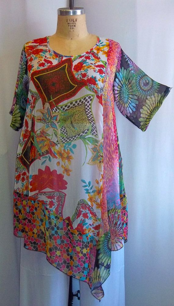Coco and Juan Plus Size Lagenlook Flowers Mixed by COCOandJUAN, $38.00