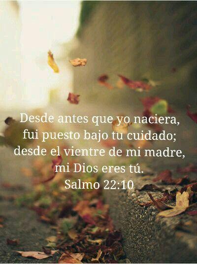 Salmo 22:10 Sobre ti fui echado desde antes de nacer; Desde el vientre de mi…
