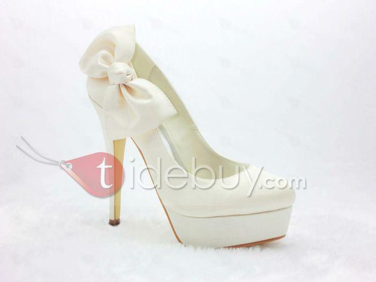 Honey Satin Stiletto Heels Closed Toe Prom/Evening Shoes : Tidebuy.com