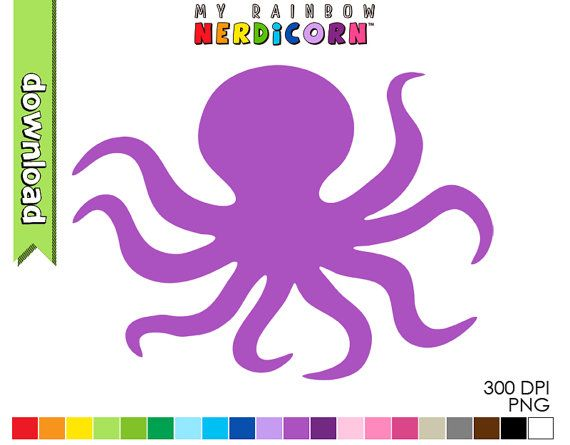 Octopus clipart digital download of 20 color by MyRainbowNerdicorn